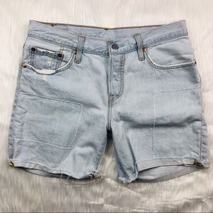 Levi's 501 Light Wash Distressed Denim Shorts